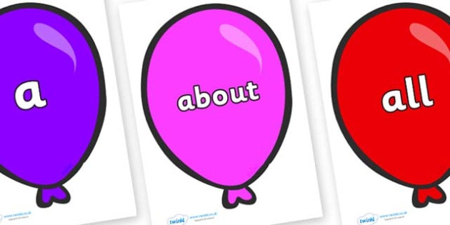 100 High Frequency Words on Party Balloons - High frequency words, hfw, DfES Letters and Sounds, Letters and Sounds, display words