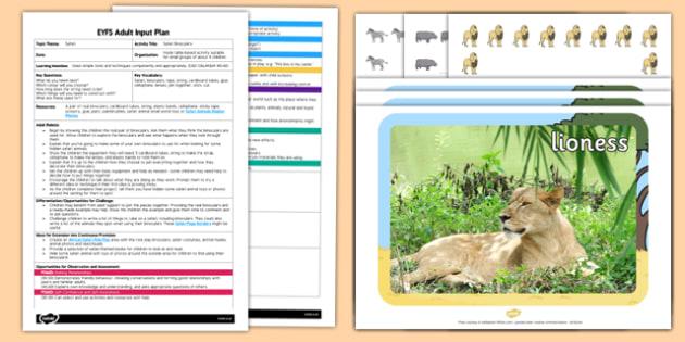 EYFS Safari Binoculars Adult Input Plan and Resource Pack - adult led, focus, activity