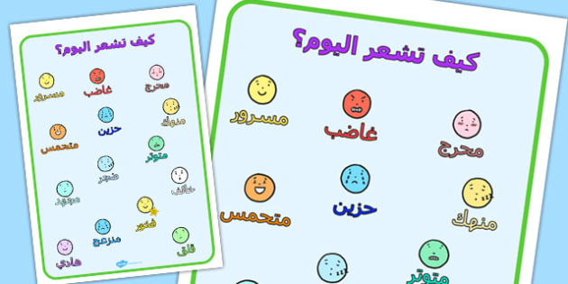 كيف تشعر اليوم؟ - مشاعر وأحاسيس، موارد تعليمية، وسائل تعليمية