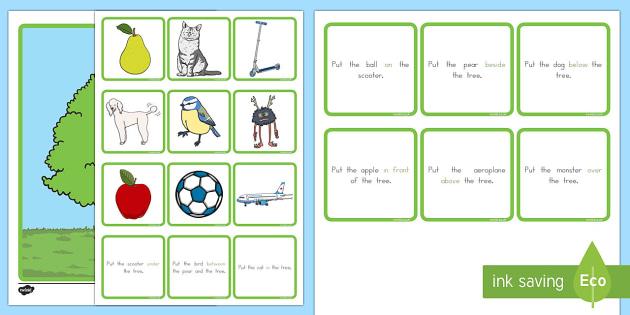 Preposition Tree Game - australia, SEN, direction, position, prepositional, langauge, maths, shape, space, measures