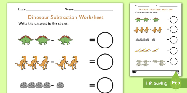 Dinosaur Themed Subtraction Sheet - subtract, take away, numeracy, Subtraction, dinosaur, one digit