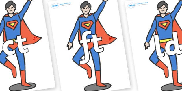Final Letter Blends on Superheroes (Plain) - Final Letters, final letter, letter blend, letter blends, consonant, consonants, digraph, trigraph, literacy, alphabet, letters, foundation stage literacy