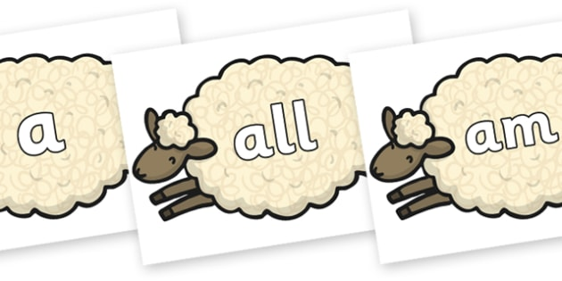 Foundation Stage 2 Keywords on Sheep - FS2, CLL, keywords, Communication language and literacy,  Display, Key words, high frequency words, foundation stage literacy, DfES Letters and Sounds, Letters and Sounds, spelling