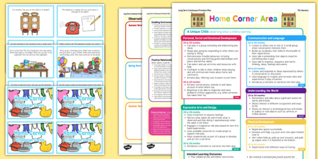 Home Corner Continuous Provision Plan Poster and Challenge Cards Pack Nursery FS1 - early years, plan