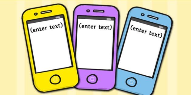 Phone Text Cards - visual aid, card, texts, phones, displays