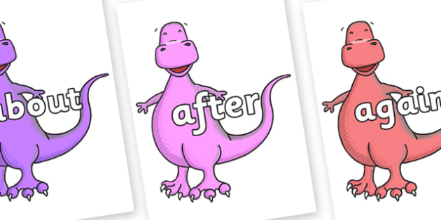 KS1 Keywords on Tyrannosaurus - KS1, CLL, Communication language and literacy, Display, Key words, high frequency words, foundation stage literacy, DfES Letters and Sounds, Letters and Sounds, spelling