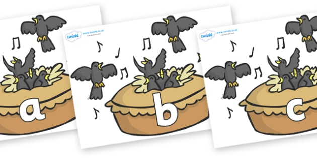 Phase 2 Phonemes on Blackbirds in a Pie - Phonemes, phoneme, Phase 2, Phase two, Foundation, Literacy, Letters and Sounds, DfES, display