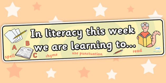 In Literacy this Week Working Wall Banner - literacy, english