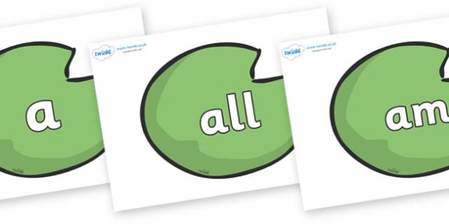 Foundation Stage 2 Keywords on Lily Pads - FS2, CLL, keywords, Communication language and literacy,  Display, Key words, high frequency words, foundation stage literacy, DfES Letters and Sounds, Letters and Sounds, spelling