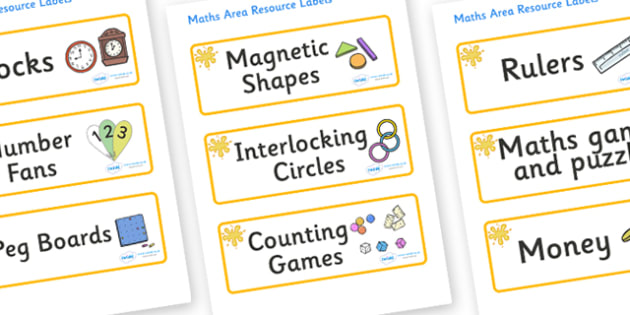 Orange Themed Editable Maths Area Resource Labels - Themed maths resource labels, maths area resources, Label template, Resource Label, Name Labels, Editable Labels, Drawer Labels, KS1 Labels, Foundation Labels, Foundation Stage Labels, Teaching Labe