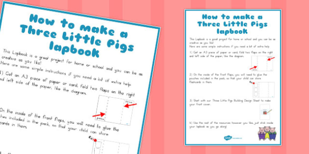 The Three Little Pigs Lapbook Instructions Sheet - instruction