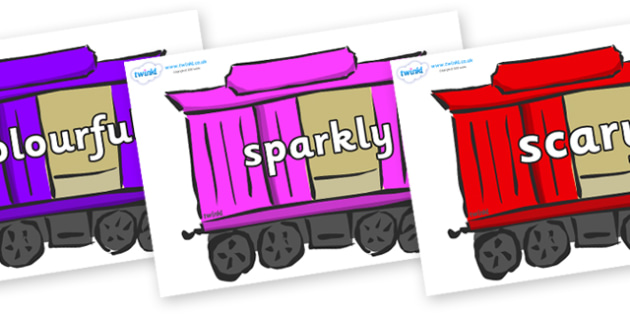 Wow Words on Carriages - Wow words, adjectives, VCOP, describing, Wow, display, poster, wow display, tasty, scary, ugly, beautiful, colourful sharp, bouncy