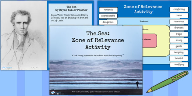 The Sea Poem by Barry Cornwell Zone of Relevance Activity Pack