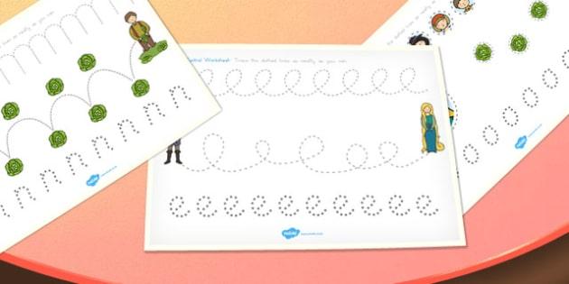 Rapunzel Pencil Control Path Worksheets - australia, rapunzel, pencil control