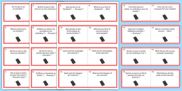 General Conversation Question Double Sided Cards French English Technology in Everyday Life - french, Conversation, Speaking, Questions, Teschnology, Technologie, Social Media, Mobile, Internet, Computer, Ordinateur, Portable, Réseaux, Sociaux, Carte