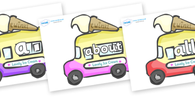 100 High Frequency Words on Ice Cream Vans - High frequency words, hfw, DfES Letters and Sounds, Letters and Sounds, display words