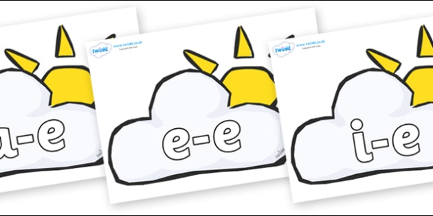 Modifying E Letters on Weather Symbols (Sun & Cloud) - Modifying E, letters, modify, Phase 5, Phase five, alternative spellings for phonemes, DfES letters and Sounds