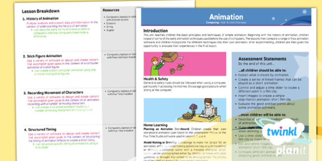 PlanIt - Computing Year 4 - Animation Planning Overview - planit, computing, unit