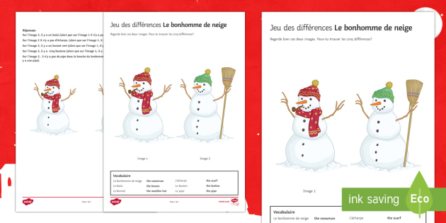 Snowman Spot the Differences Activity Sheet-French