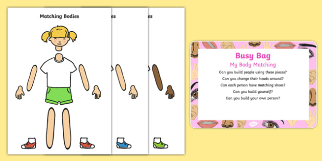 My Body Matching Busy Bag Prompt Card and Resource Pack