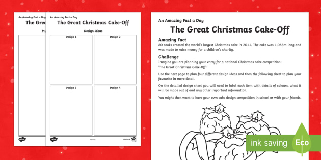 Amazing Fact a Day KS2 Countdown to Christmas Day 21 Design for The Great Christmas Cake Off Activity Sheet - Amazing Fact Of The Day, activity sheets, powerpoint, starter, morning activity, worksheet, December