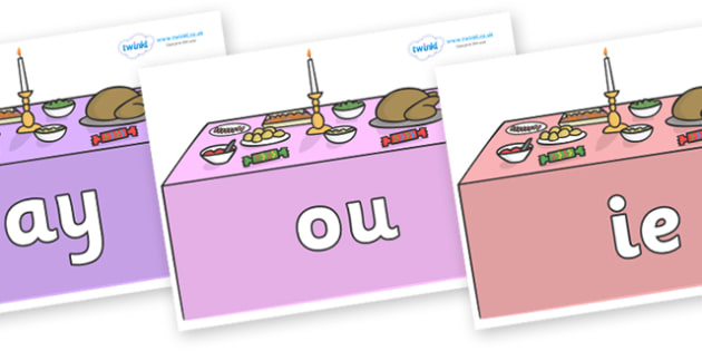Phase 5 Phonemes on Christmas Dinner (Tables) - Phonemes, phoneme, Phase 5, Phase five, Foundation, Literacy, Letters and Sounds, DfES, display