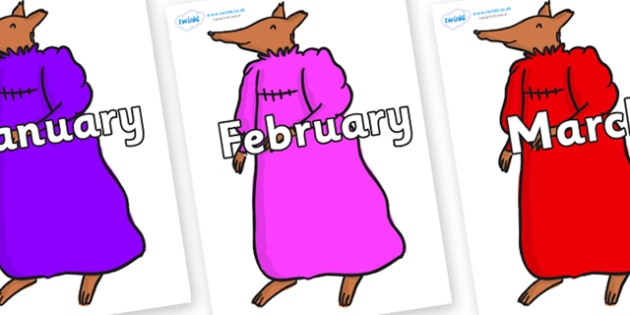 Months of the Year on Mrs Fox to Support Teaching on Fantastic Mr Fox - Months of the Year, Months poster, Months display, display, poster, frieze, Months, month, January, February, March, April, May, June, July, August, September