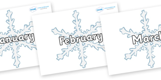Months of the Year on Snowflakes - Months of the Year, Months poster, Months display, display, poster, frieze, Months, month, January, February, March, April, May, June, July, August, September