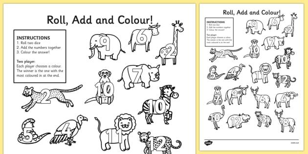 Safari Roll and Colour Activity Sheets- jungle, animals, safari games