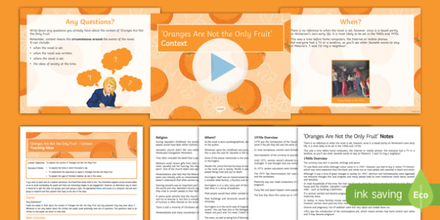 Oranges are not the Only Fruit Lesson Pack: Context