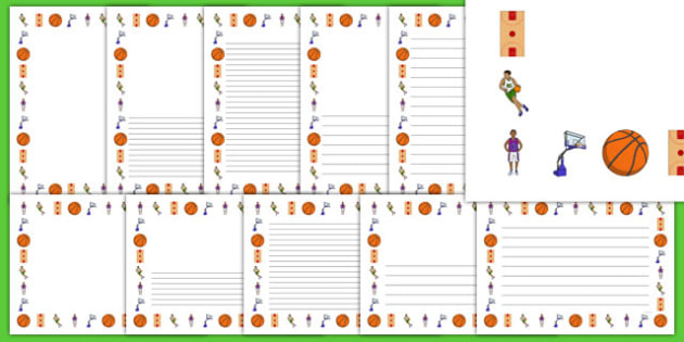 Basketball Writing Templates - usa, nba, basketball, national basketball association, writing templates