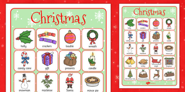 Christmas Themed Vocabulary Poster - posters, display, displays