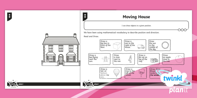 PlanIt Y1 Position and Direction Home Learning Tasks - Geometry, movement, whole turn, half turn, quarter turn, three-quarter turn, clockwise, anticlockwis