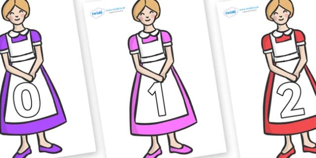 Numbers 0-31 on Maids - 0-31, foundation stage numeracy, Number recognition, Number flashcards, counting, number frieze, Display numbers, number posters