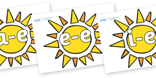 Modifying E Letters on Sun - Modifying E, letters, modify, Phase 5, Phase five, alternative spellings for phonemes, DfES letters and Sounds