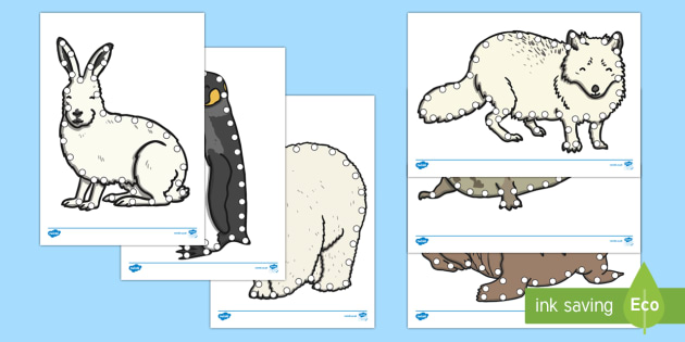Polar Animals Lacing Cards - The Arctic, Polar Regions, north pole, south pole, explorers, threading, fine motor control, walrus,
