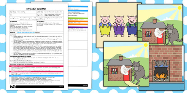 Bee Bot Three Little Pigs Story Mat EYFS Adult Input Plan and Resource Pack