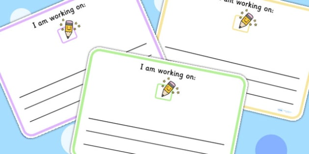 I Am Working On Cards Lined - class management, word cards, write