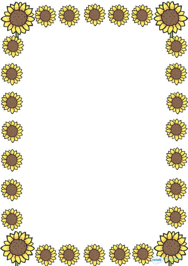 Sunflower Full Page Borders Page Border Border Frame