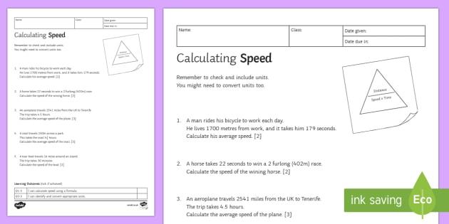 KS3 Calculating Speed Homework Activity Sheet - Homework, speed, calculating, distance, time, formula, speed triangle, motion, worsheet