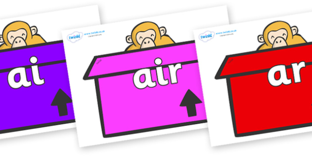 Phase 3 Phonemes on Monkeys (Box) to Support Teaching on Dear Zoo - Phonemes, phoneme, Phase 3, Phase three, Foundation, Literacy, Letters and Sounds, DfES, display