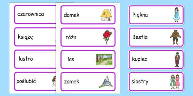 Karty z słownictwem Piękna i Bestia po polsku - baśnie, bajki