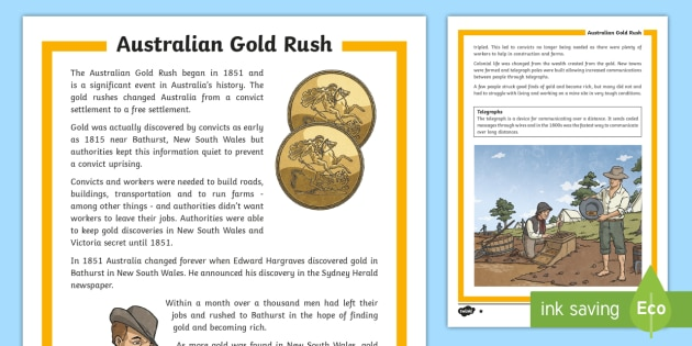 Gold Rush Differentiated Fact File-Australia - Gold Rush, Eureka Stockade, history, gold,Australia