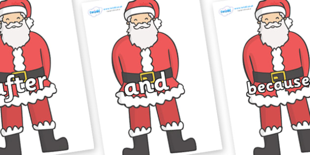 Connectives on Father Christmas - Connectives, VCOP, connective resources, connectives display words, connective displays
