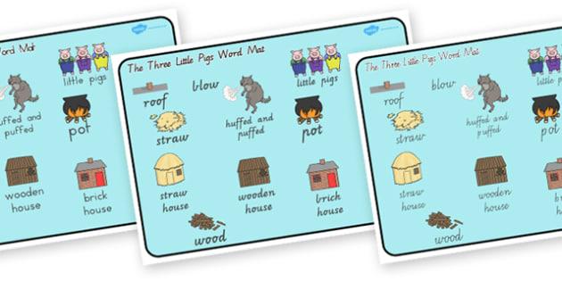 The Three Little Pigs Word Mat - australia, word, mat, pigs