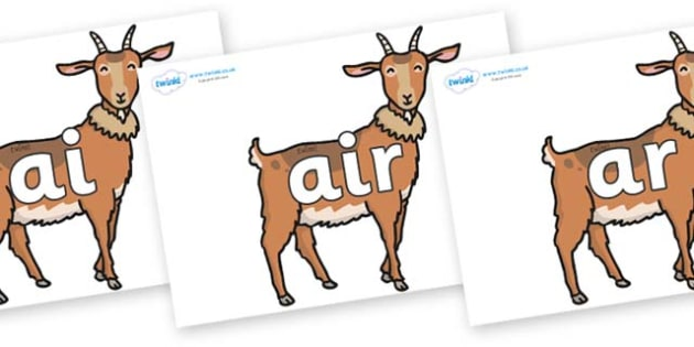Phase 3 Phonemes on Medium Billy Goats - Phonemes, phoneme, Phase 3, Phase three, Foundation, Literacy, Letters and Sounds, DfES, display