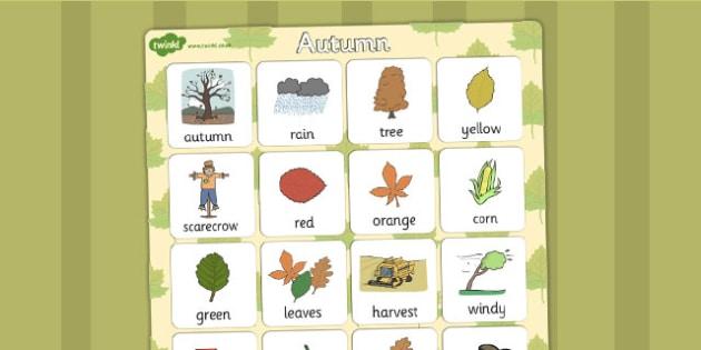 Autumn Vocabulary Poster - seasons, weather, vocab, display