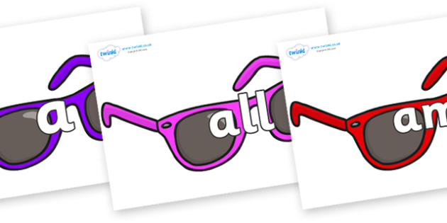 Foundation Stage 2 Keywords on Sunglasses - FS2, CLL, keywords, Communication language and literacy,  Display, Key words, high frequency words, foundation stage literacy, DfES Letters and Sounds, Letters and Sounds, spelling