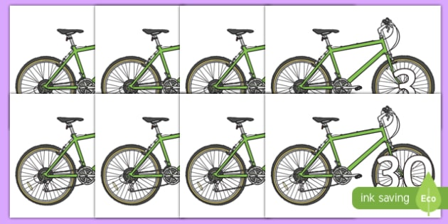 Numbers 0-31 on Bicycles - 0-31, foundation stage numeracy, Number recognition, Number flashcards, counting, number frieze, Display numbers, number posters