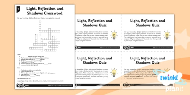 PlanIt - Science Year 3 - Light Unit Home Learning Tasks - planit, science
